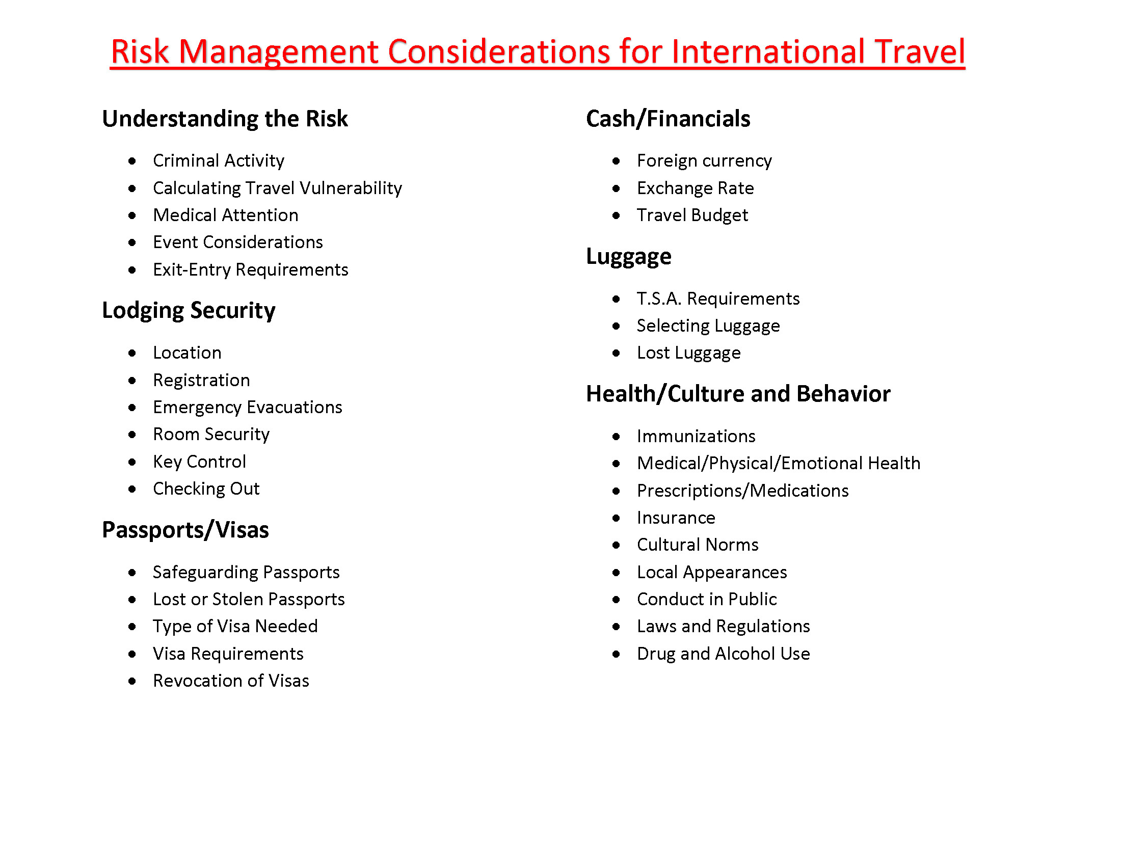 Risk Management Considerations for International Travel